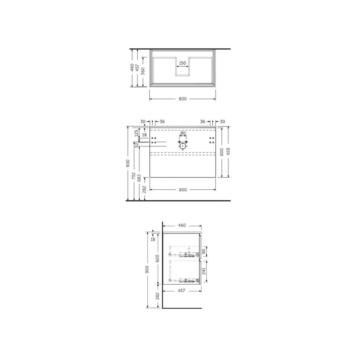 RAK Joy Grey Elm Wall Hung Vanity Unit 800mm Measurements