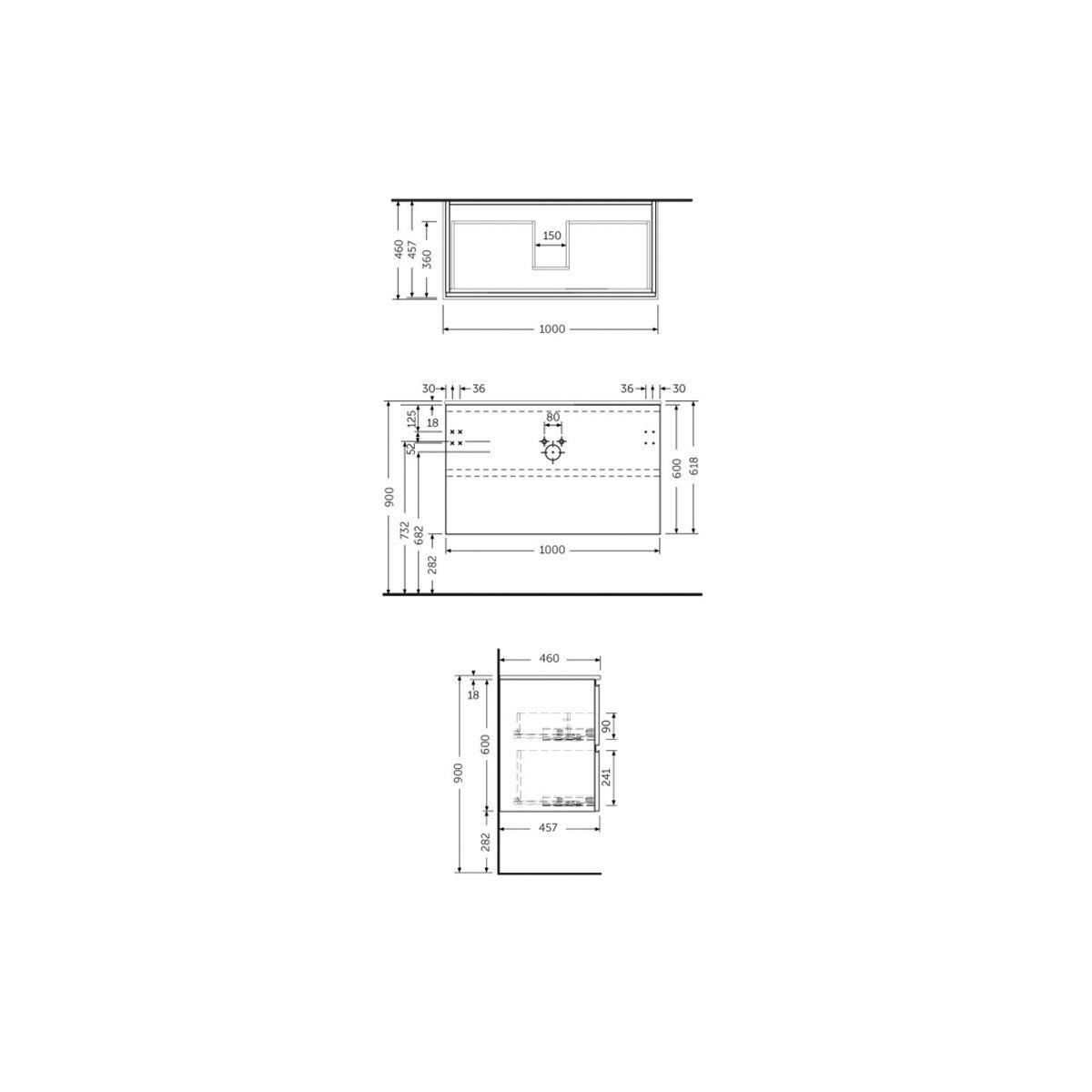 RAK Joy Grey Elm Wall Hung Vanity Unit 1000mm Measurements