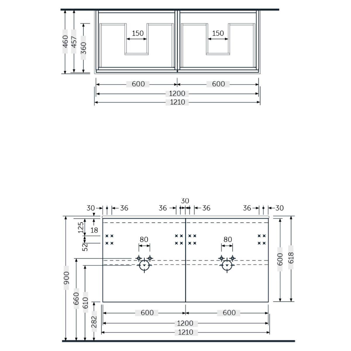 RAK Joy Scandinavian Oak Wall Hung Vanity Unit 1200mm Measurements