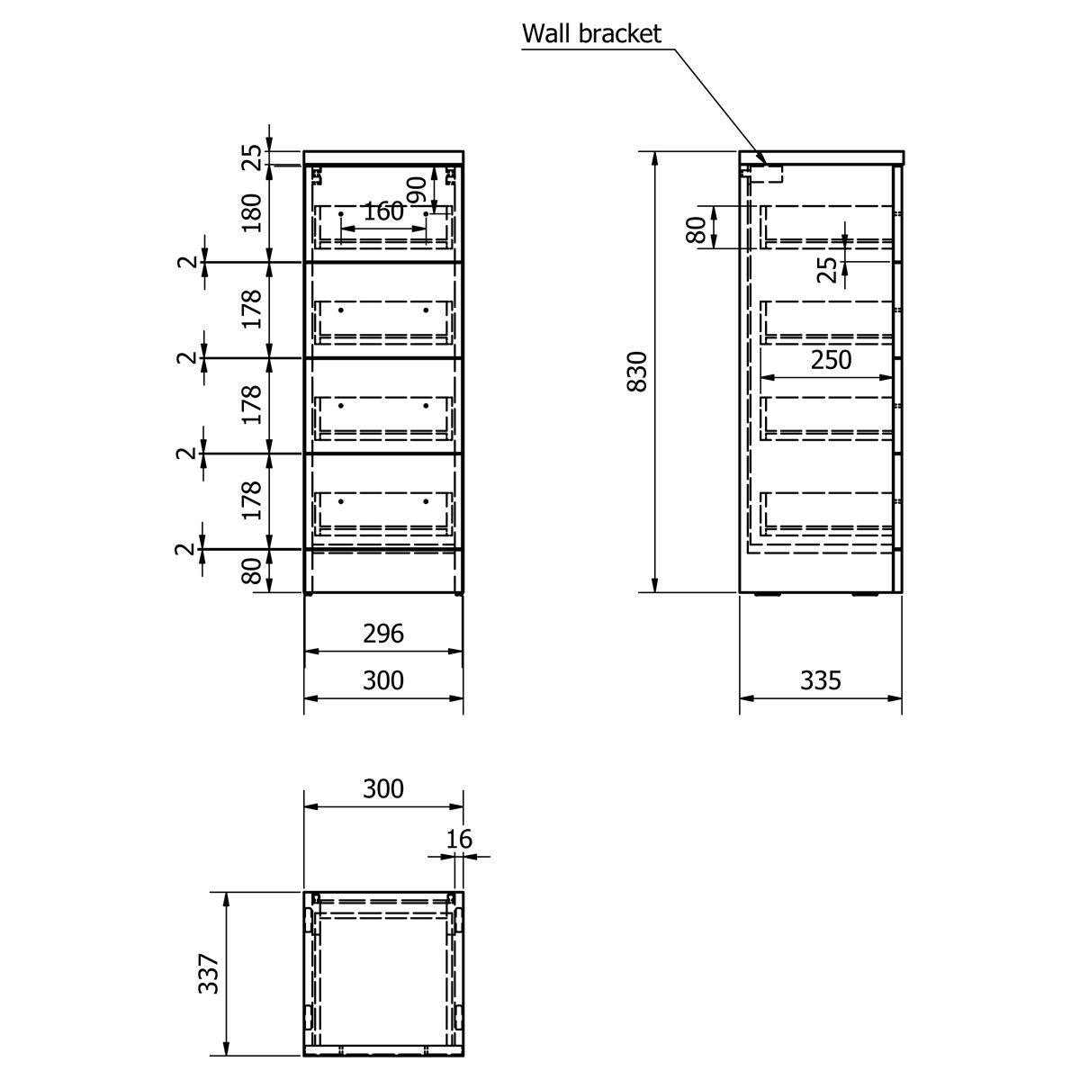 Kartell Impakt 4 Drawer Unit 300mm Dimensions
