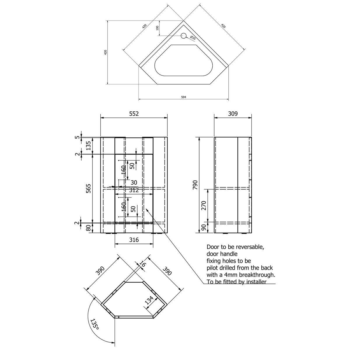 Kartell Impakt Corner Vanity Unit Dimensions