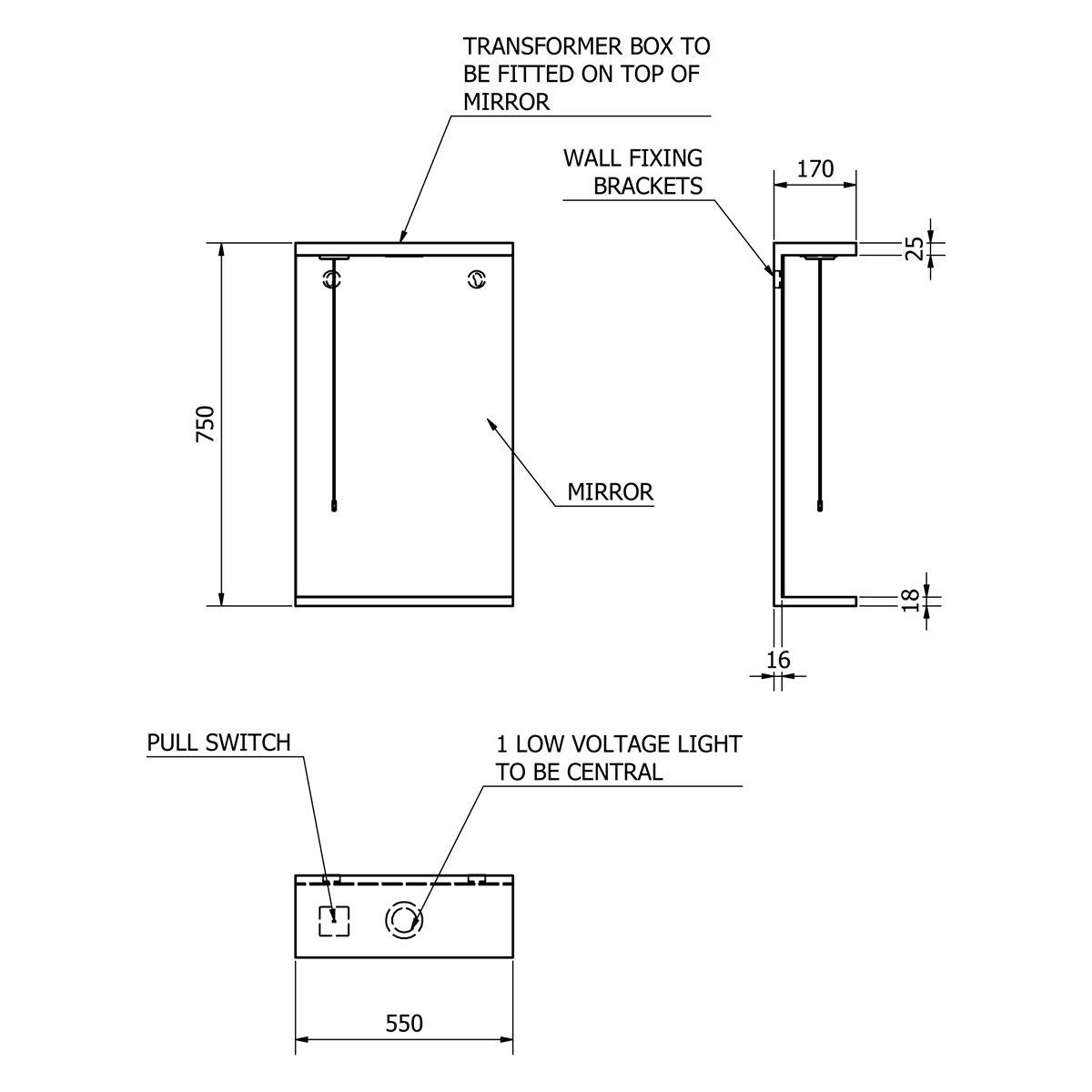 Kartell Impakt Mirror and Light 550mm Dimensions