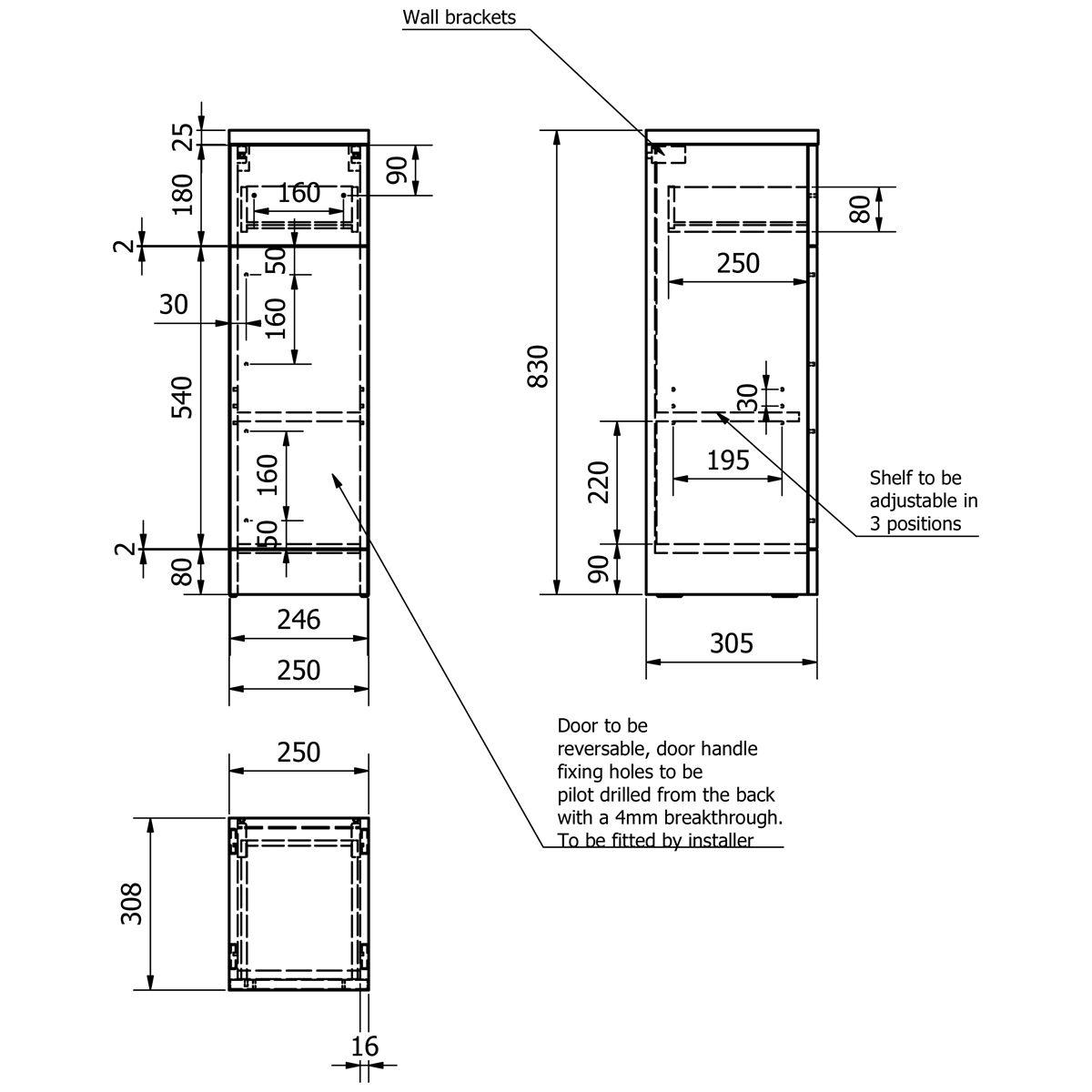 Kartell Impakt Slimline Single Door Base Unit 250mm Dimensions