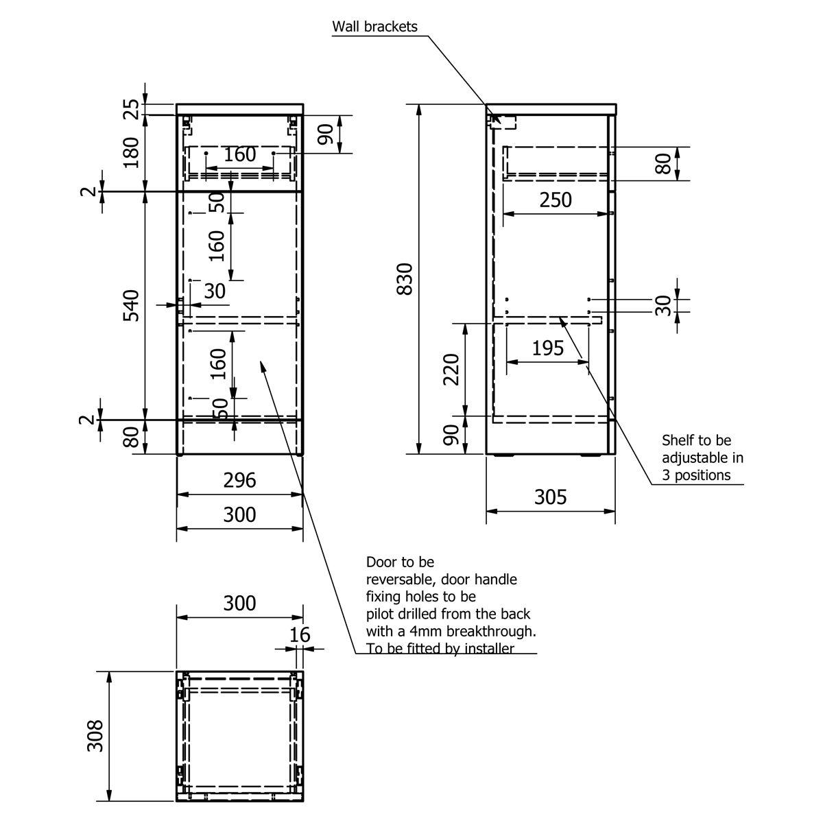 Kartell Impakt Slimline Single Door Base Unit 300mm Dimensions