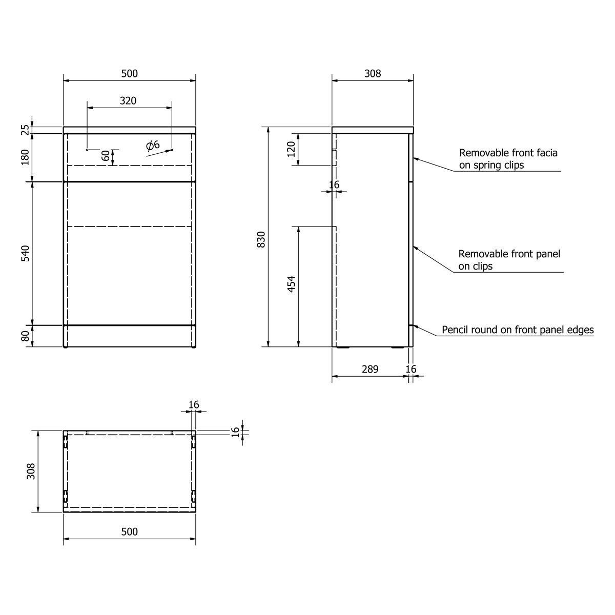 Kartell Impakt Slimline WC Unit 500mm Dimensions