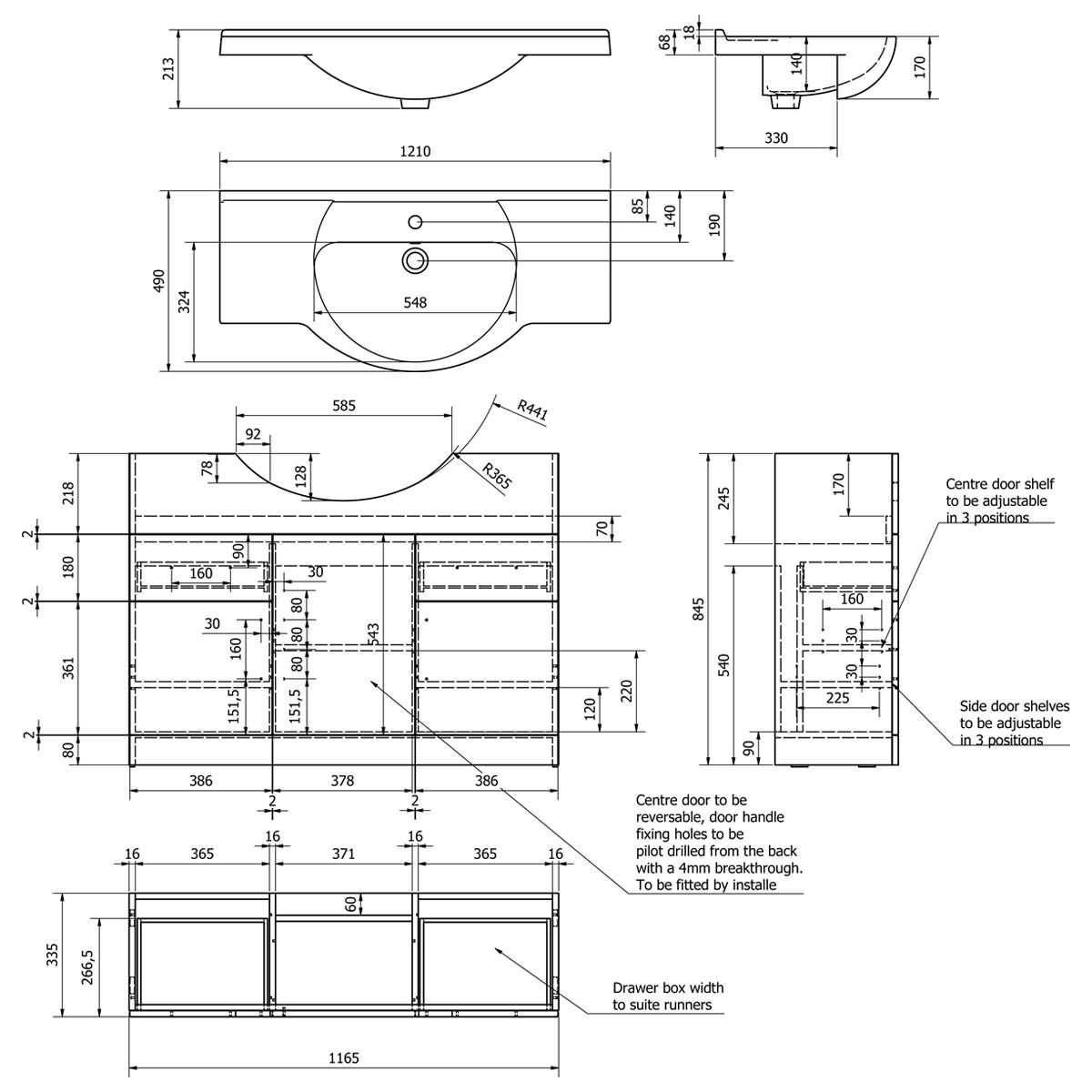 Kartell Impakt Vanity Unit 1200mm Dimensions