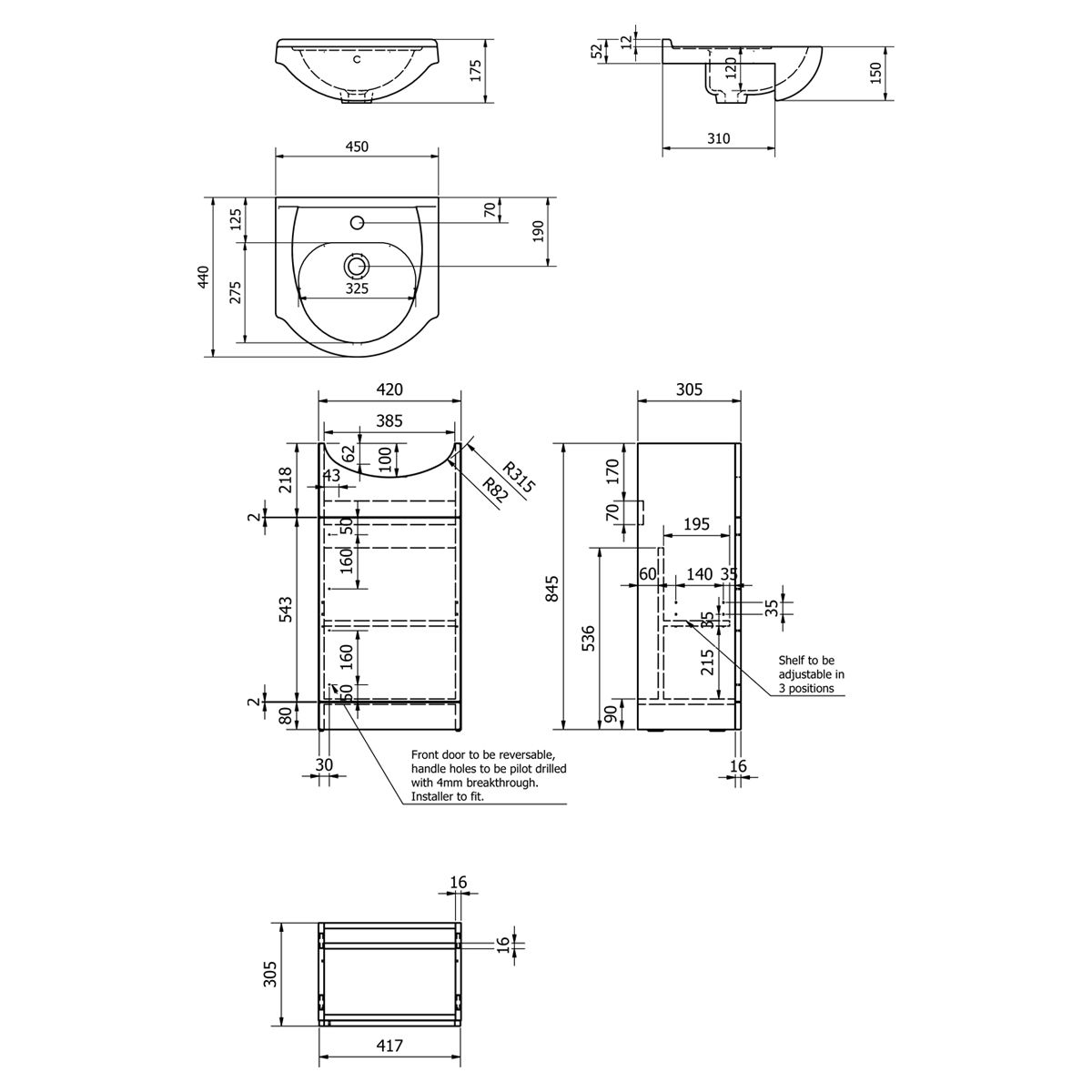 Kartell Impakt Vanity Unit 450mm Dimensions