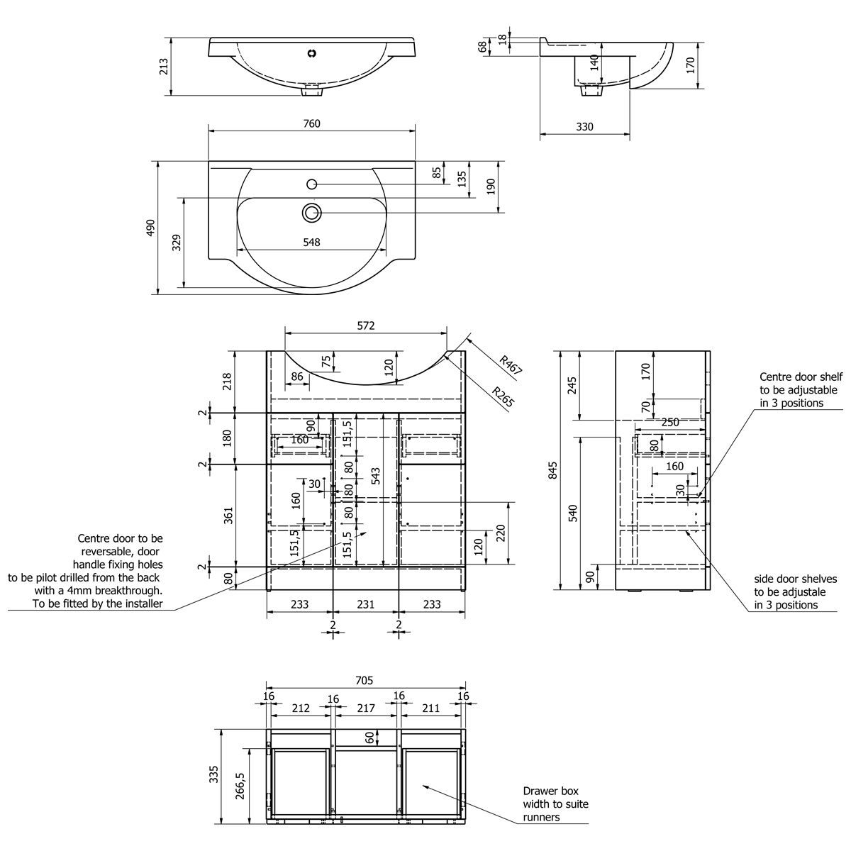 Kartell Impakt Vanity Unit 750mm Dimensions