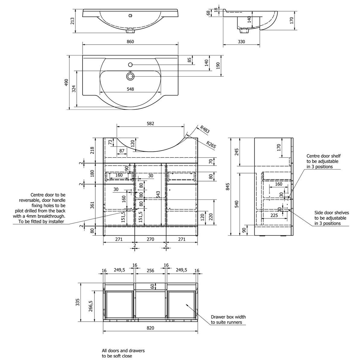 Kartell Impakt Vanity Unit 850mm Dimensions