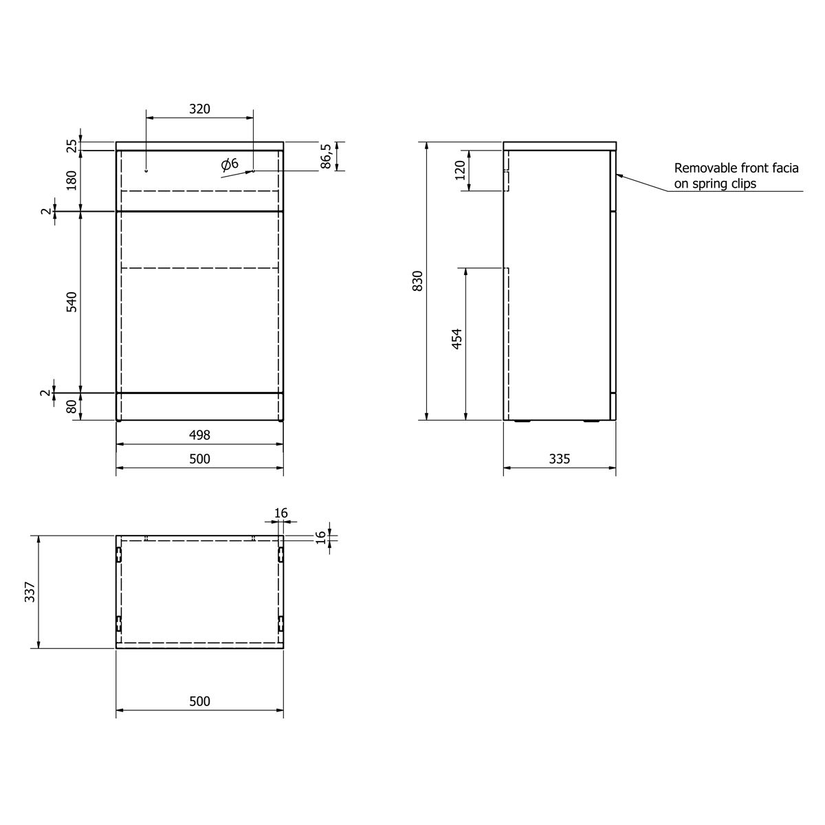 Kartell Impakt WC Unit 500mm Dimensions