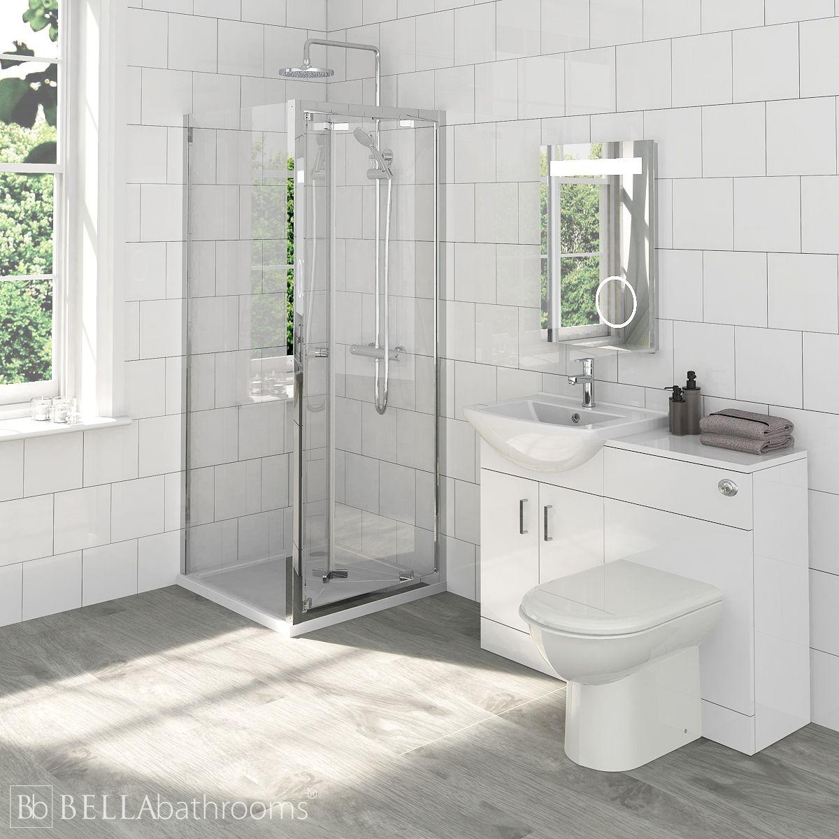 Madison Bathroom Furniture Pack with Ella Bi-Fold Shower Enclosure Open