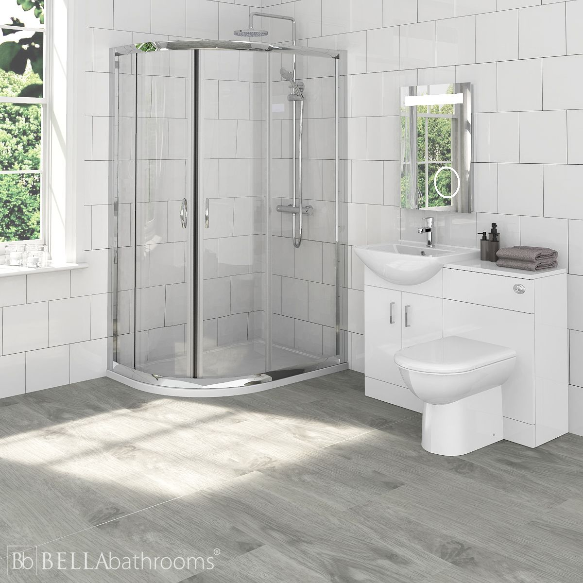 Madison Bathroom Furniture Pack with Ella Offset Quadrant Shower Enclosure