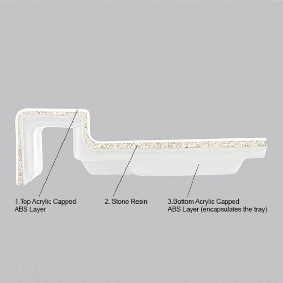 Merlyn MStone Offset Quadrant Shower Tray Right Hand 900 x 760mm