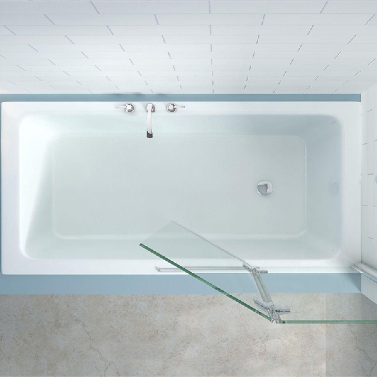 Merlyn Two Panel Hinged Bath Screen Left Hand Overhead