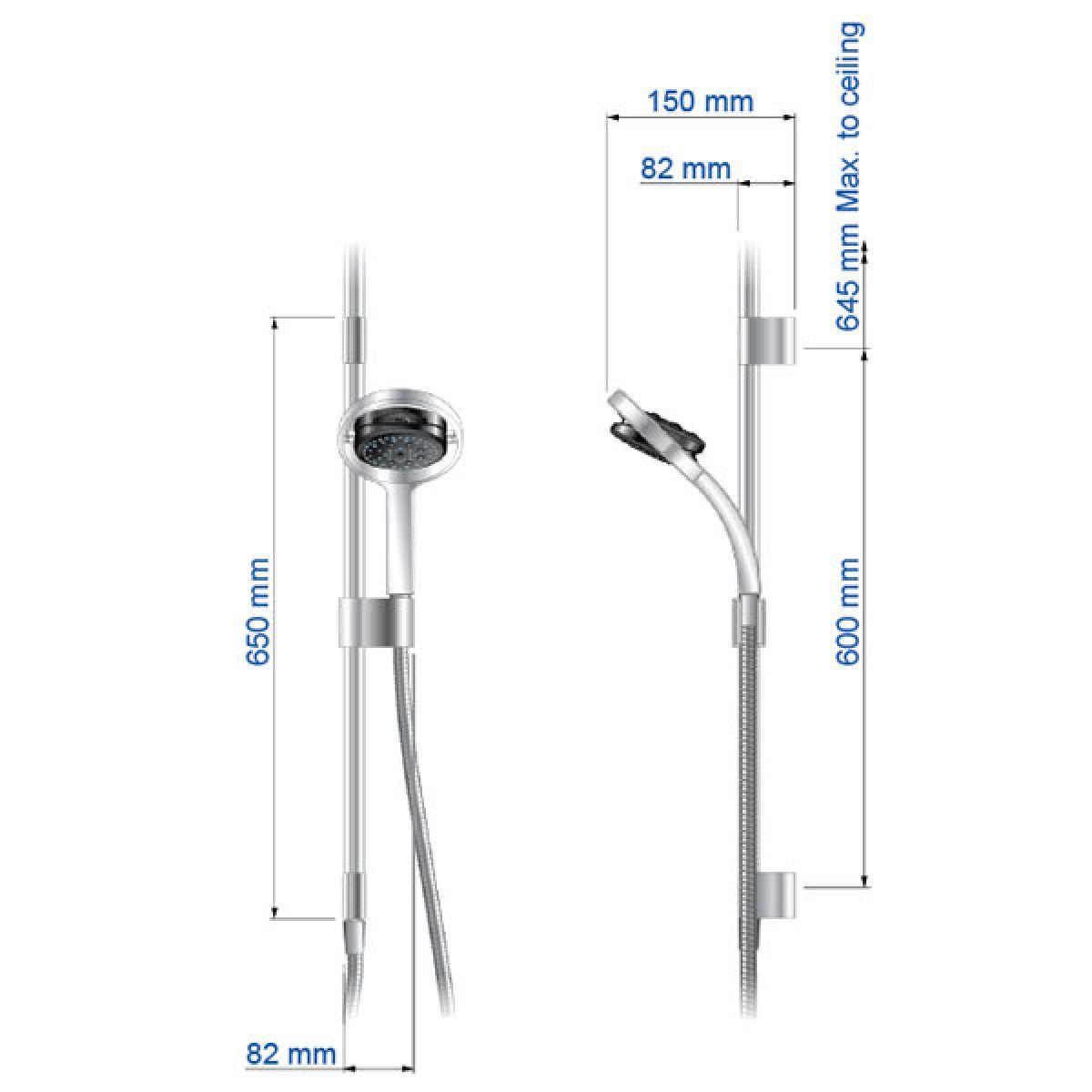Mira Platinum BIV Ceiling Fed Digital Shower Dimensions