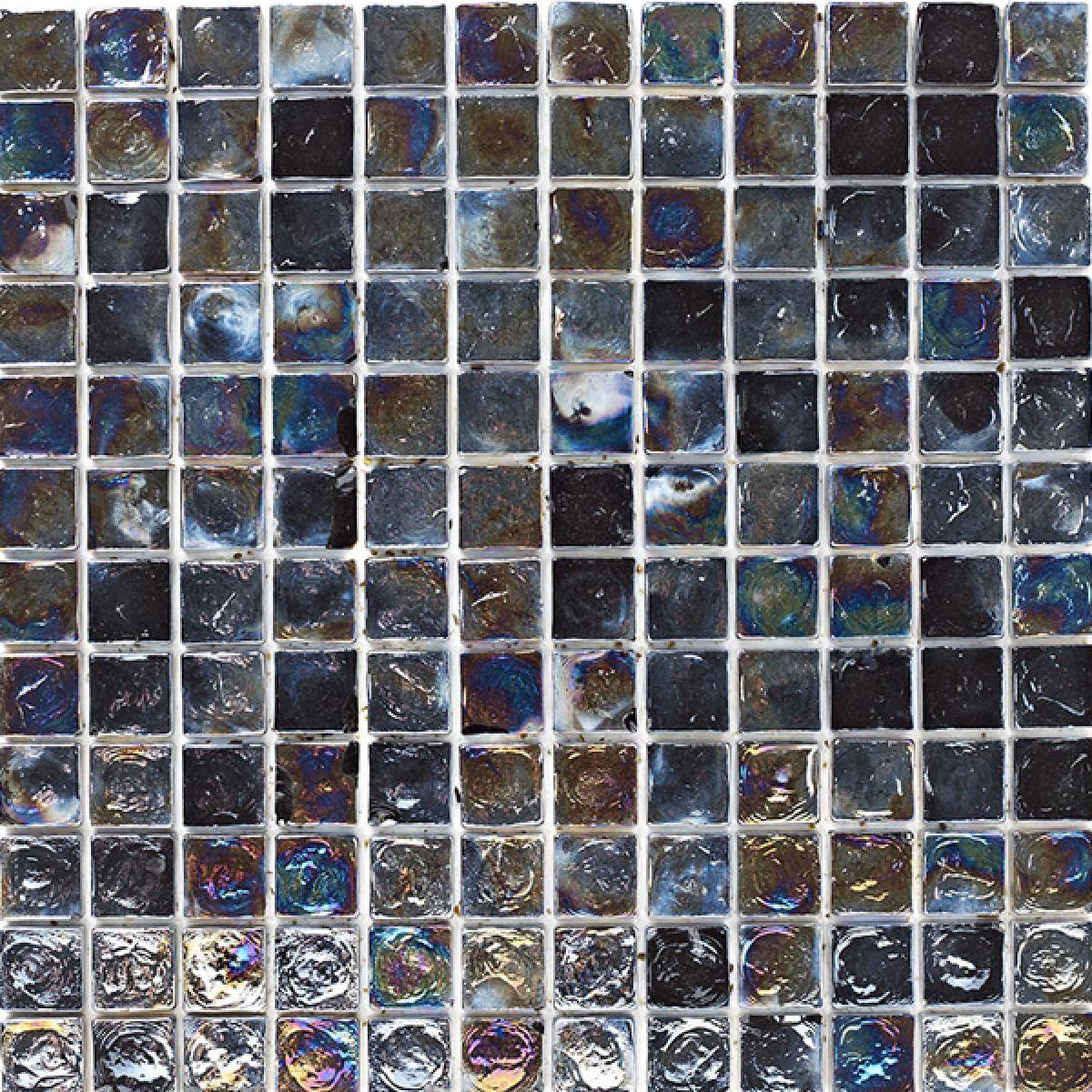 Mosaics Shades of Grey Black Hammered Glass Mosaic 305 x 305mm