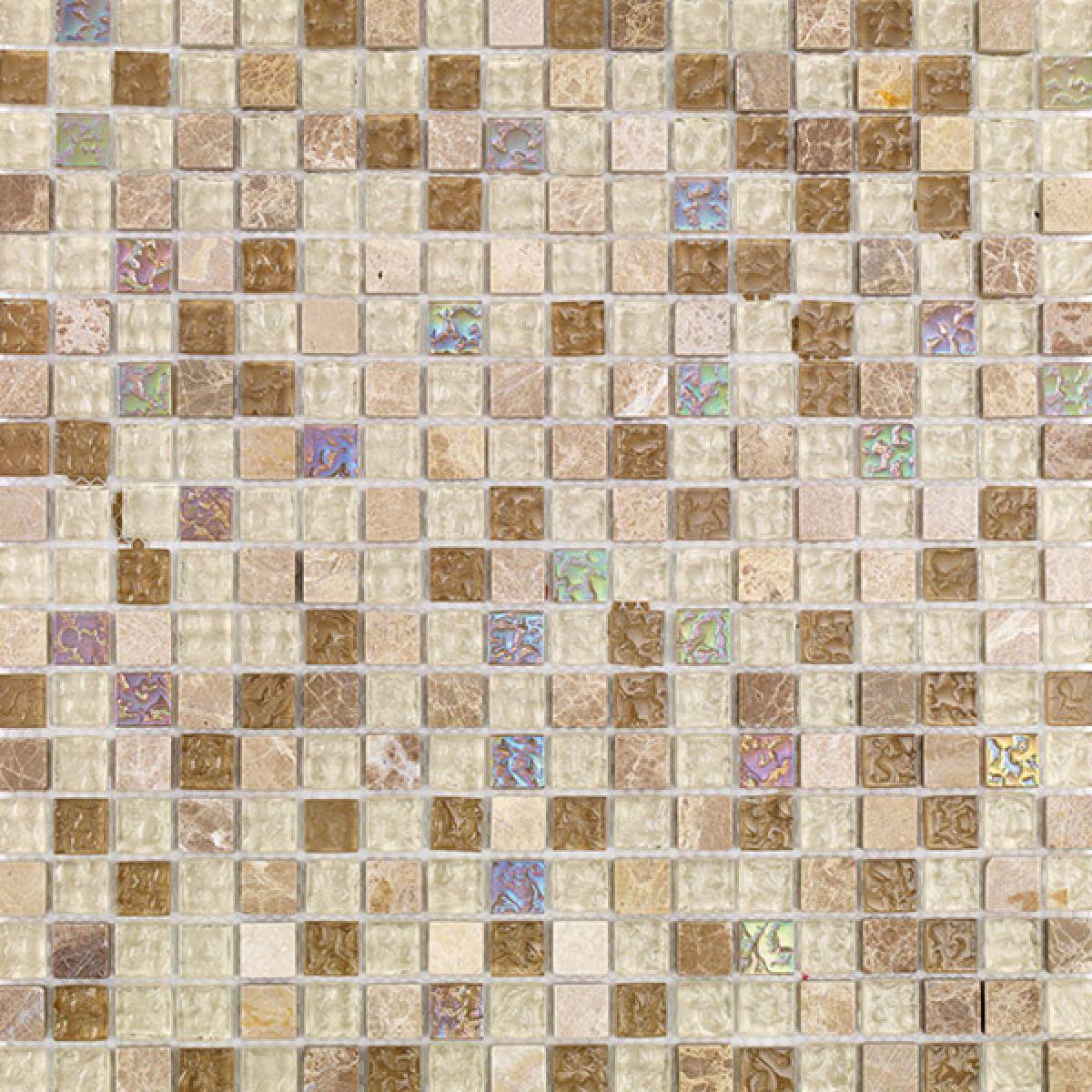 Mosaics Naturals Glass and Stone Natural Mix Mosaic 300 x 300mm