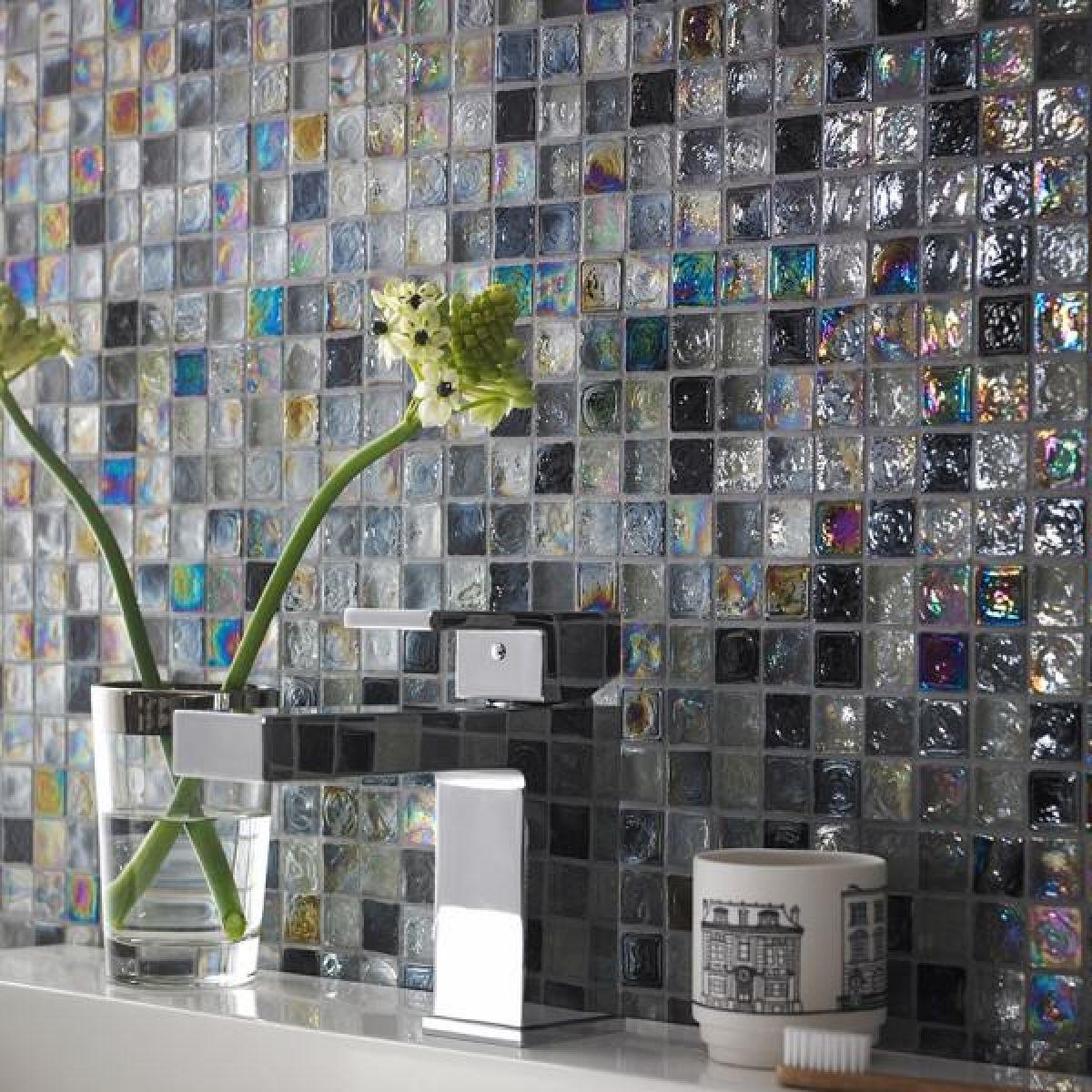 Mosaics Shades of Grey Black Hammered Glass Mosaic Lifestyle Image