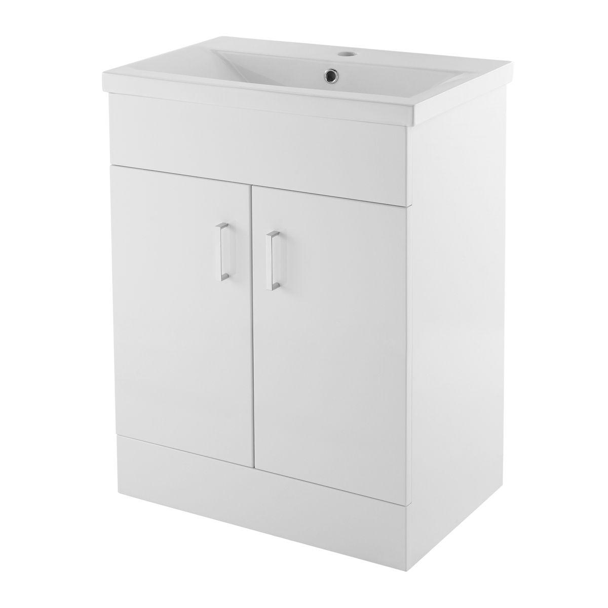 Nuie Eden Gloss White Floor Standing Vanity Unit 600mm