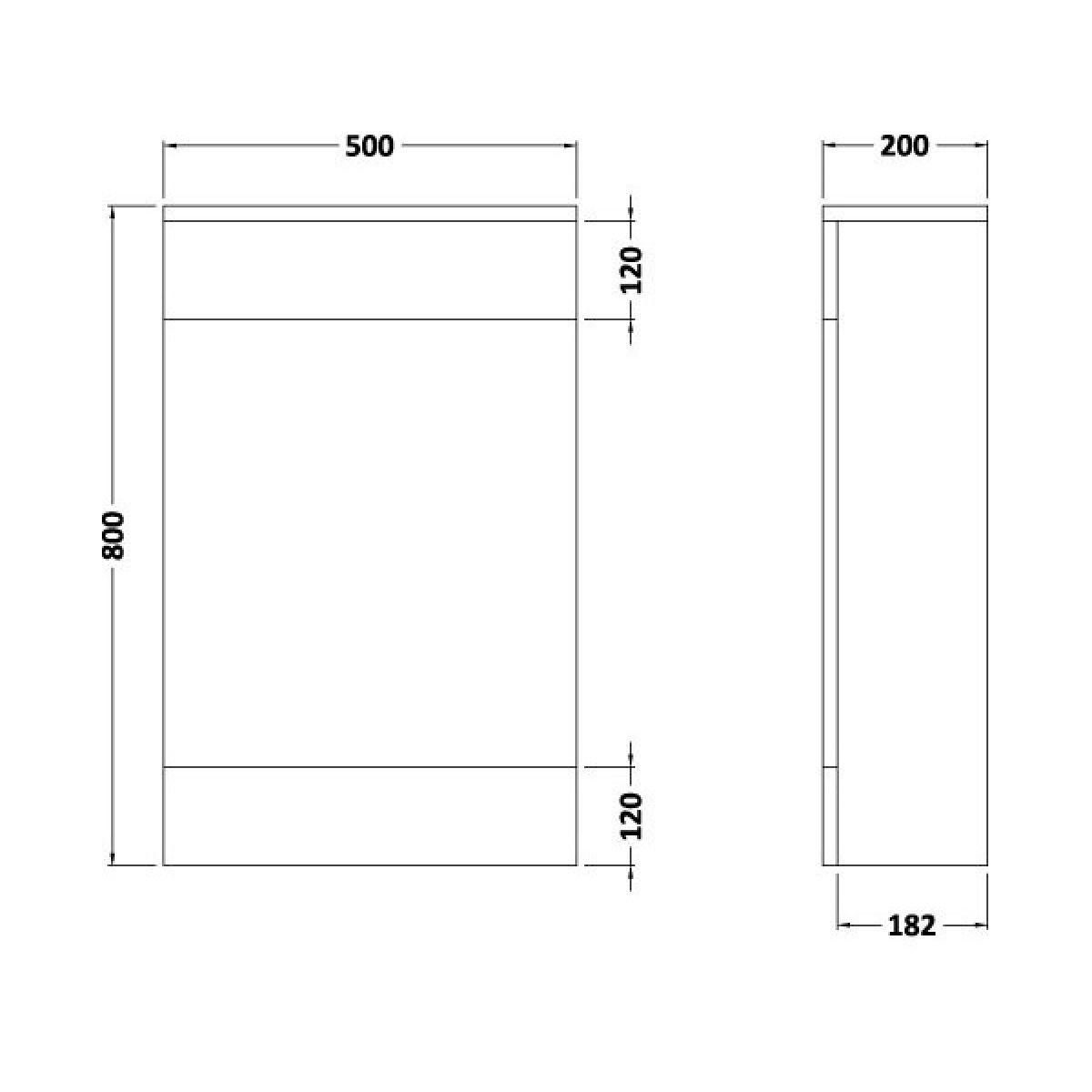 Nuie Eden Gloss White WC Unit 500mm Dimensions