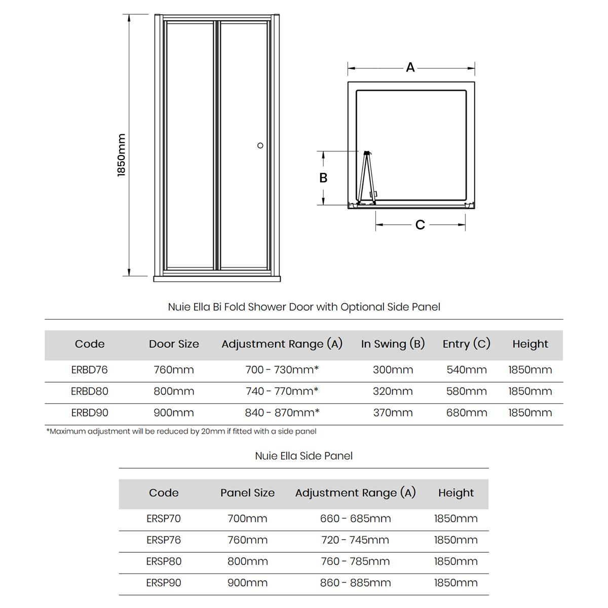 Nuie Ella Bi-Fold Shower Door with Optional Side Panel Dimensions