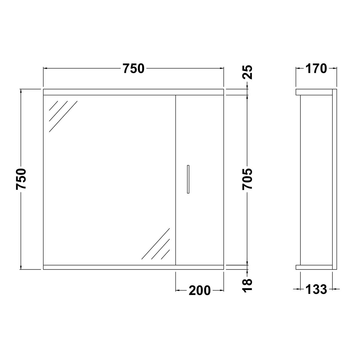 Nuie High Gloss White Bathroom Mirror Cabinet with Lights 750mm Dimensions
