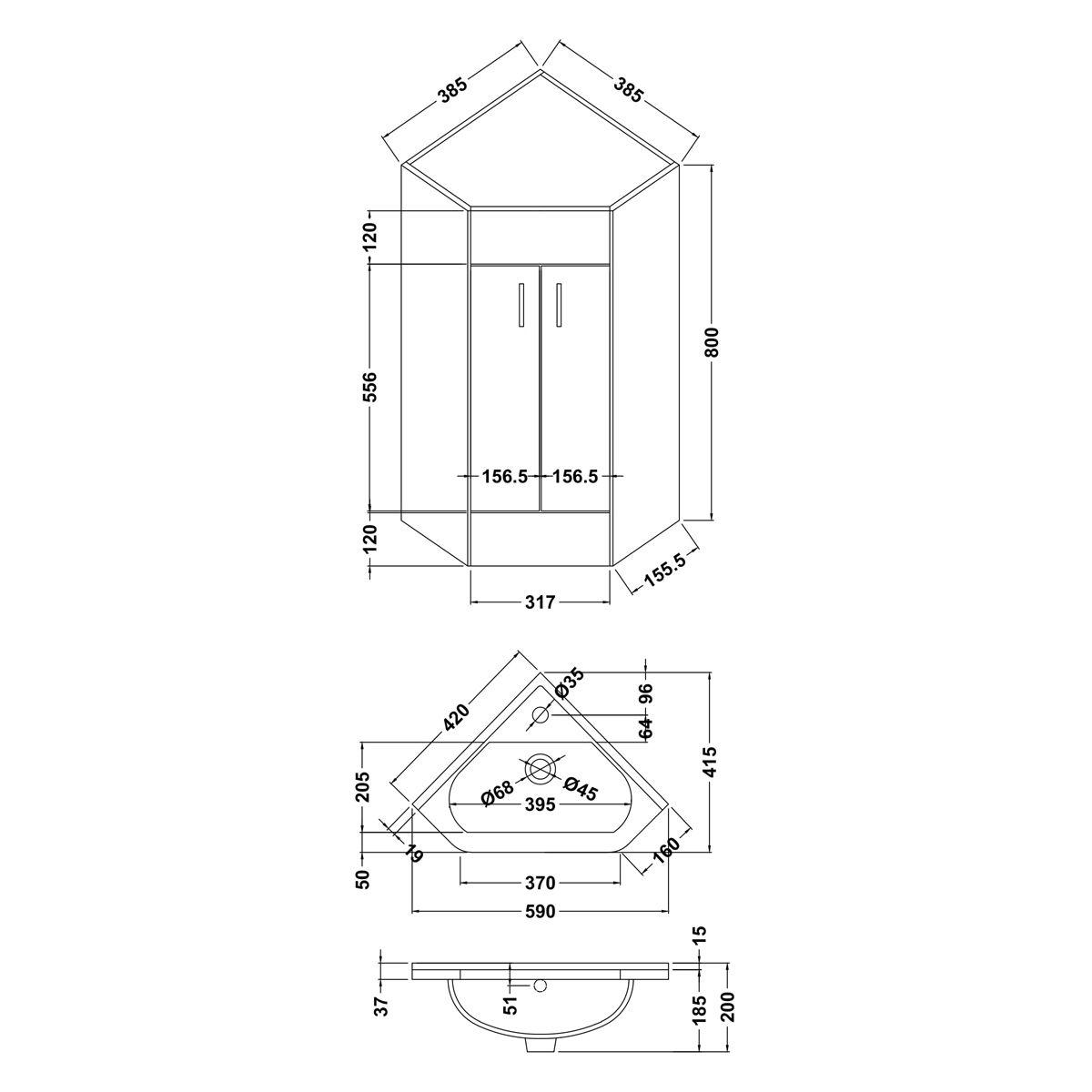 Nuie High Gloss White Corner Vanity Unit Dimensions