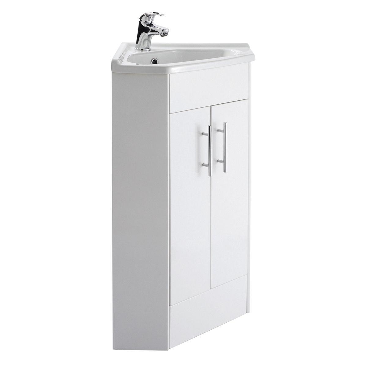 Nuie High Gloss White Double Door Corner Vanity Unit