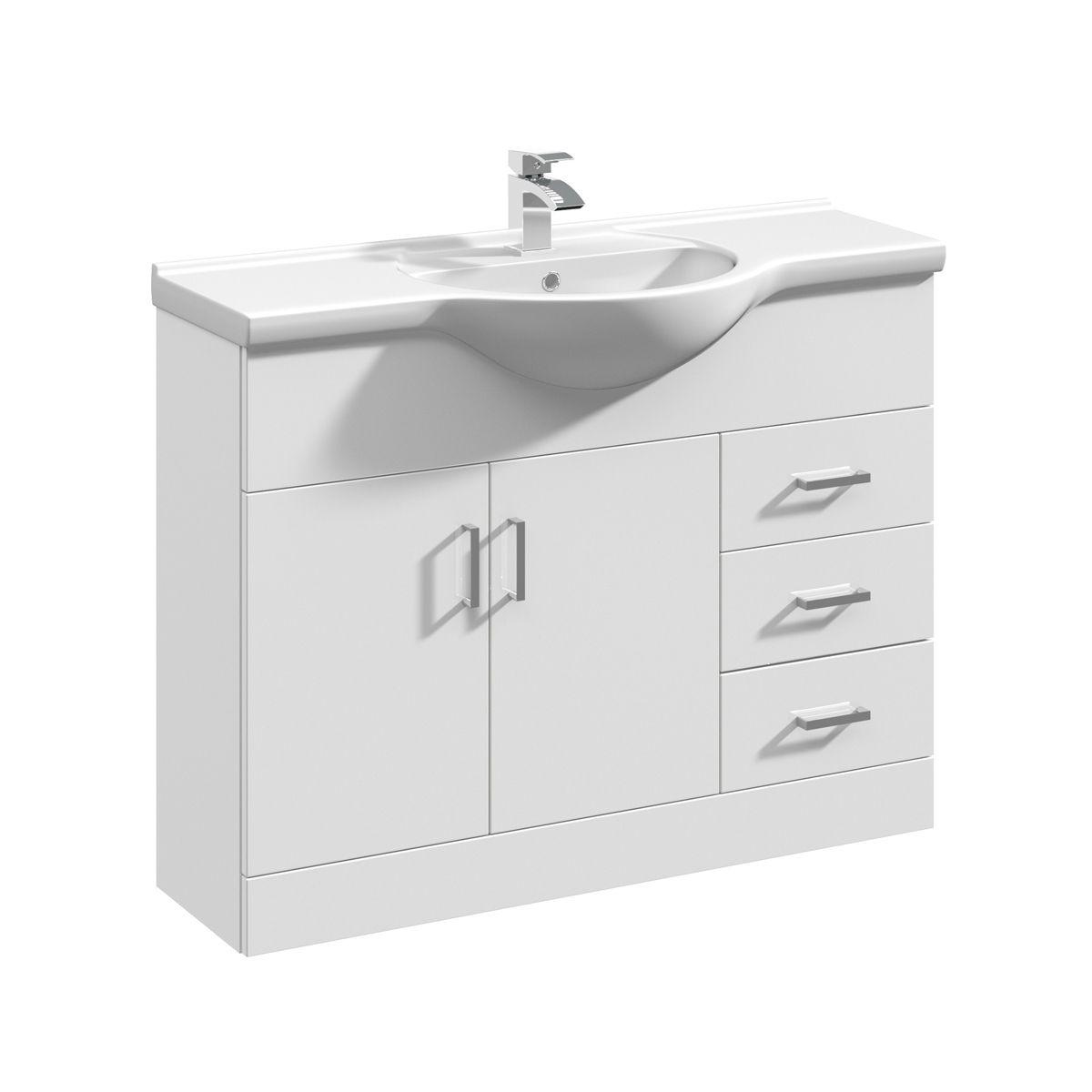 Nuie High Gloss White Vanity Unit 1050mm