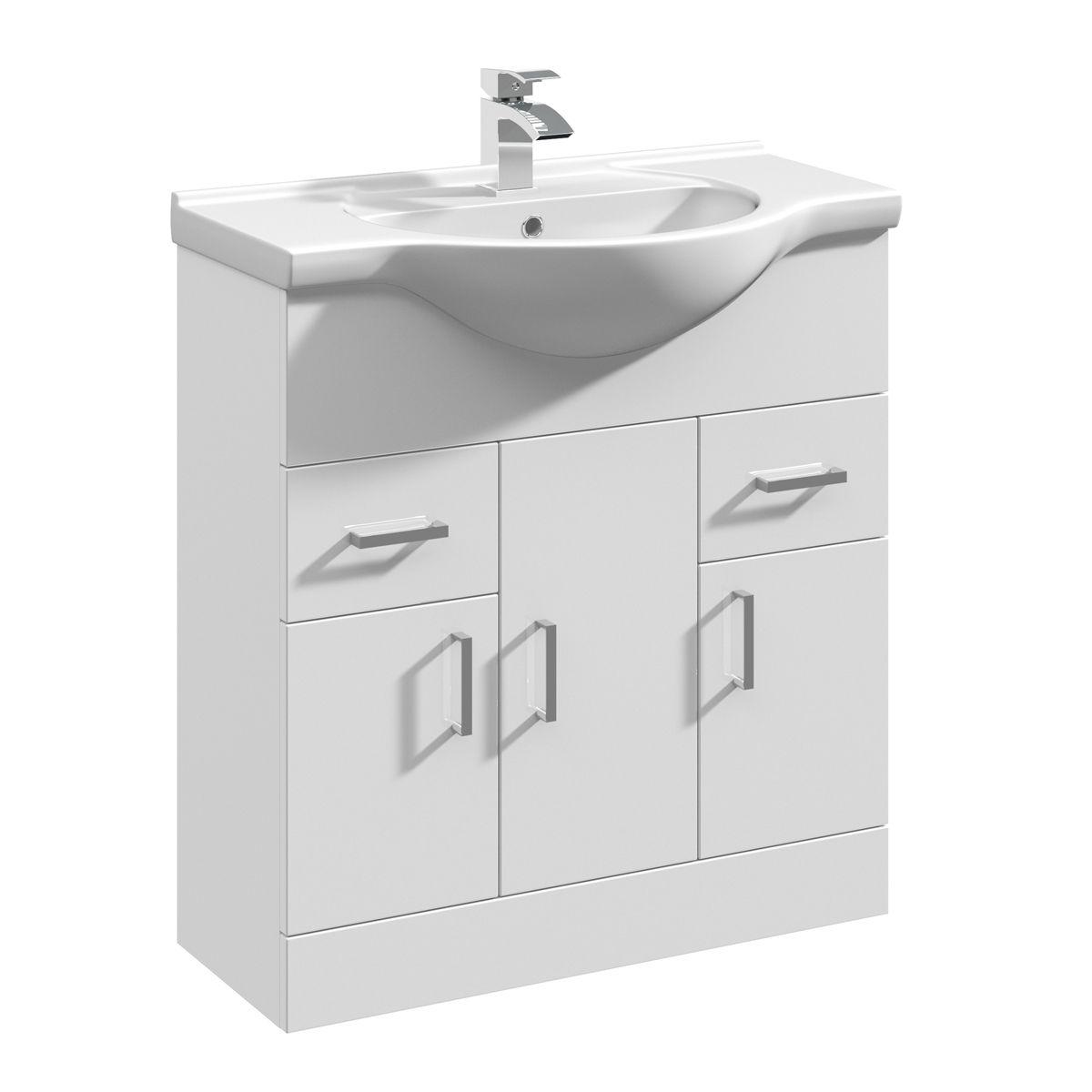 Nuie High Gloss White Vanity Unit 750mm