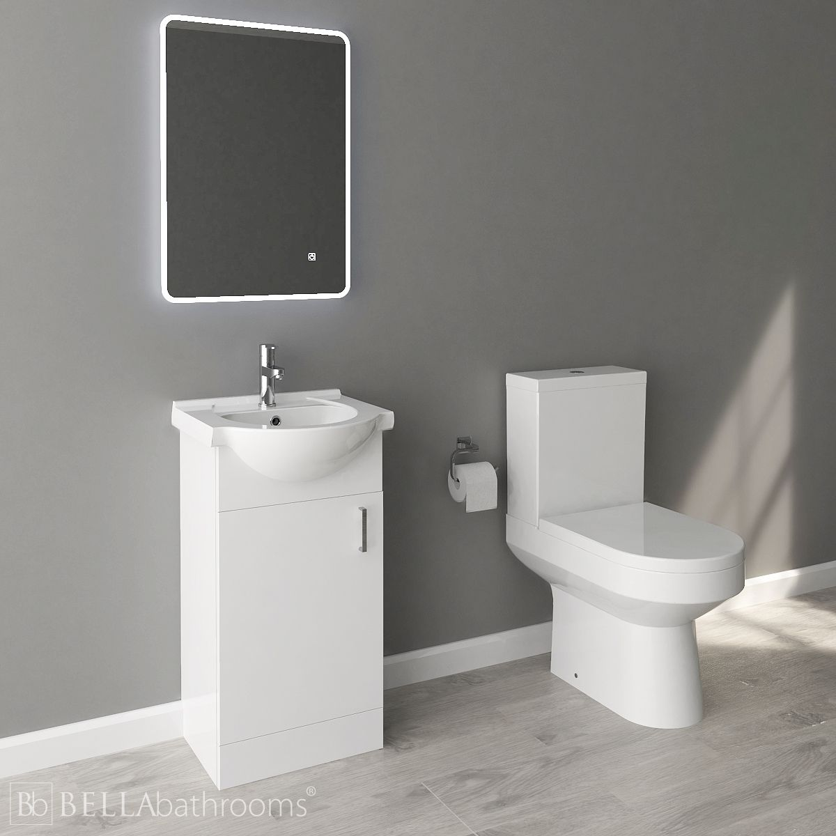 Nuie High Gloss White Vanity Unit and Toilet Set 450mm