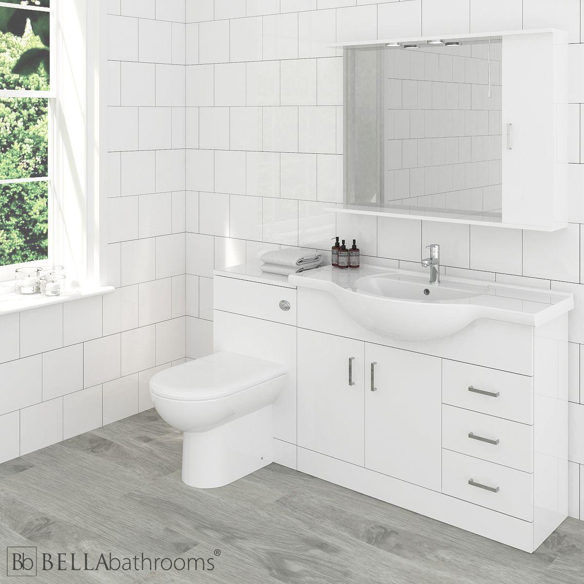 Bathroom Suite Single Ended Bath Vanity Unit Toilet Gloss White 1050mm Bathroom Fixtures Ecog Home Garden Store