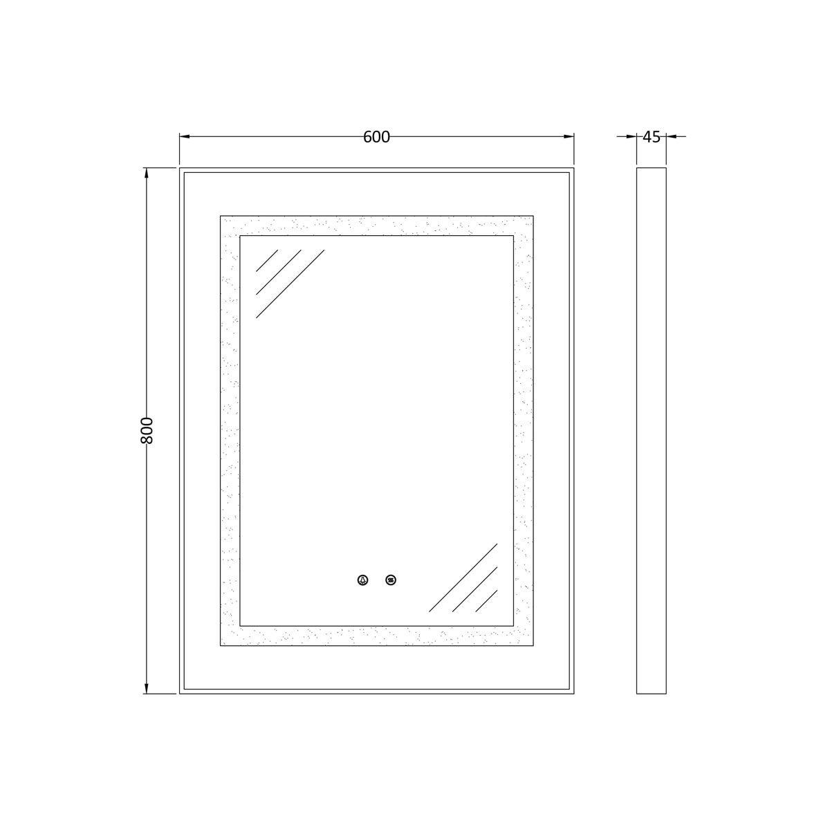 Nuie Level Touch Sensor Backlit Bathroom Mirror 800 x 600mm Dimensions