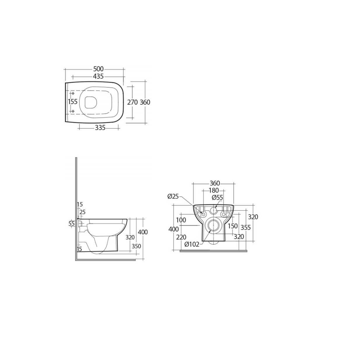 RAK Origin 62  Wall Hung WC Pan with Soft Close Seat Measurements