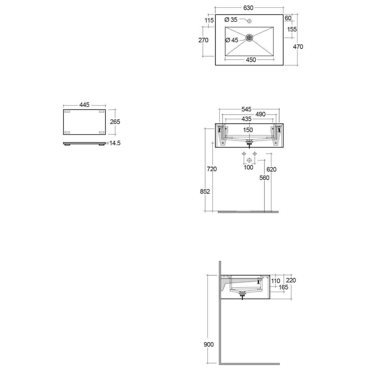 RAK Precious Carrara Wall Hung Counter Basin with Bracket Measurements