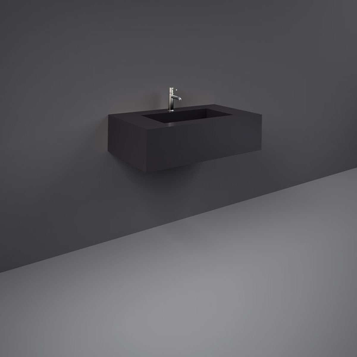 RAK Precious Uni Dark Black Wall Hung Counter Basin 800mm with Brackets