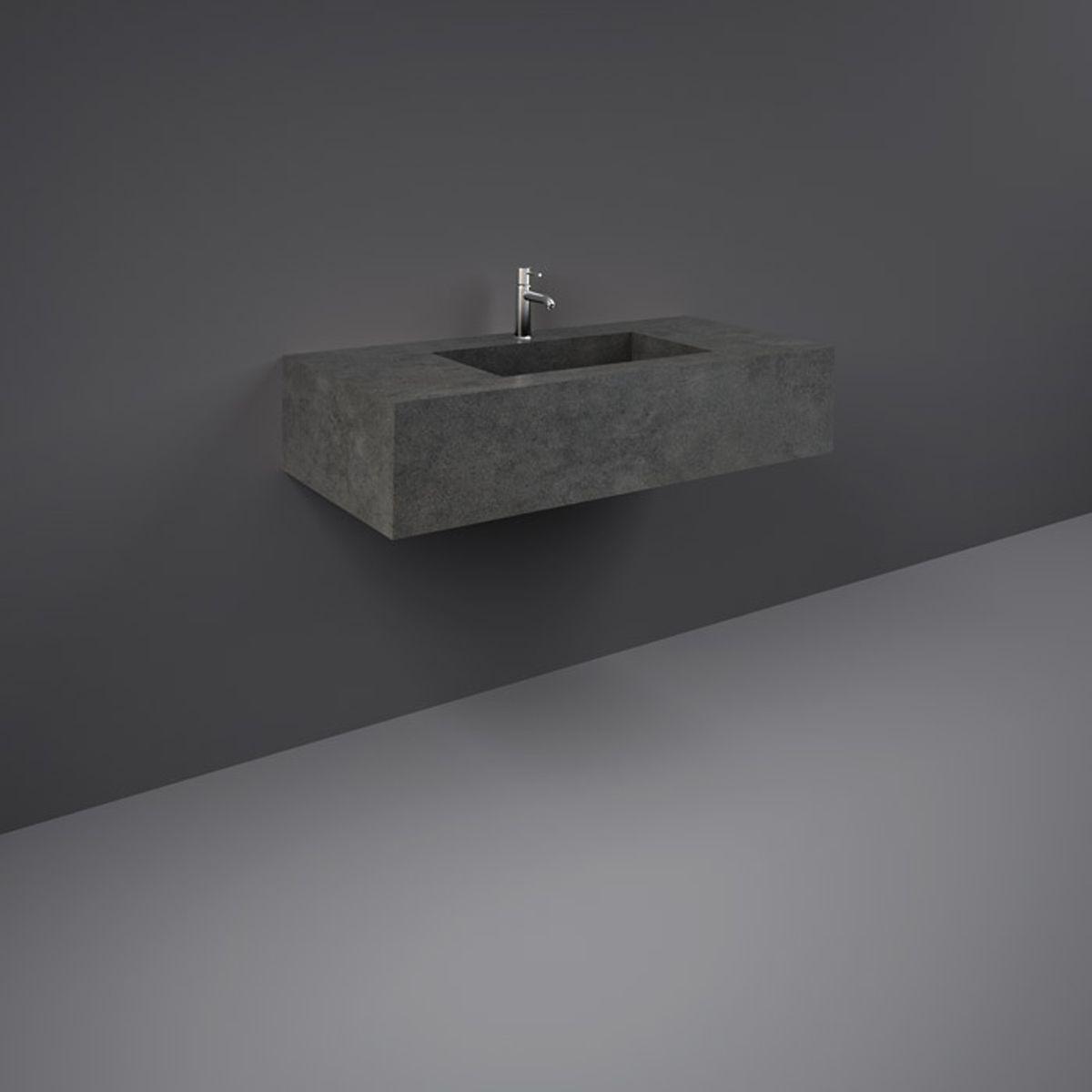 RAK Precious Behind Grey Wall Hung Counter Basin 1000mm with Brackets