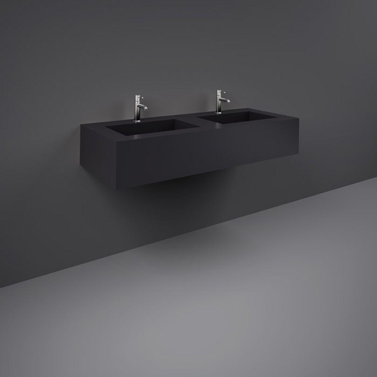 RAK Precious Uni Dark Black Wall Hung Counter Basin 1200mm with Brackets