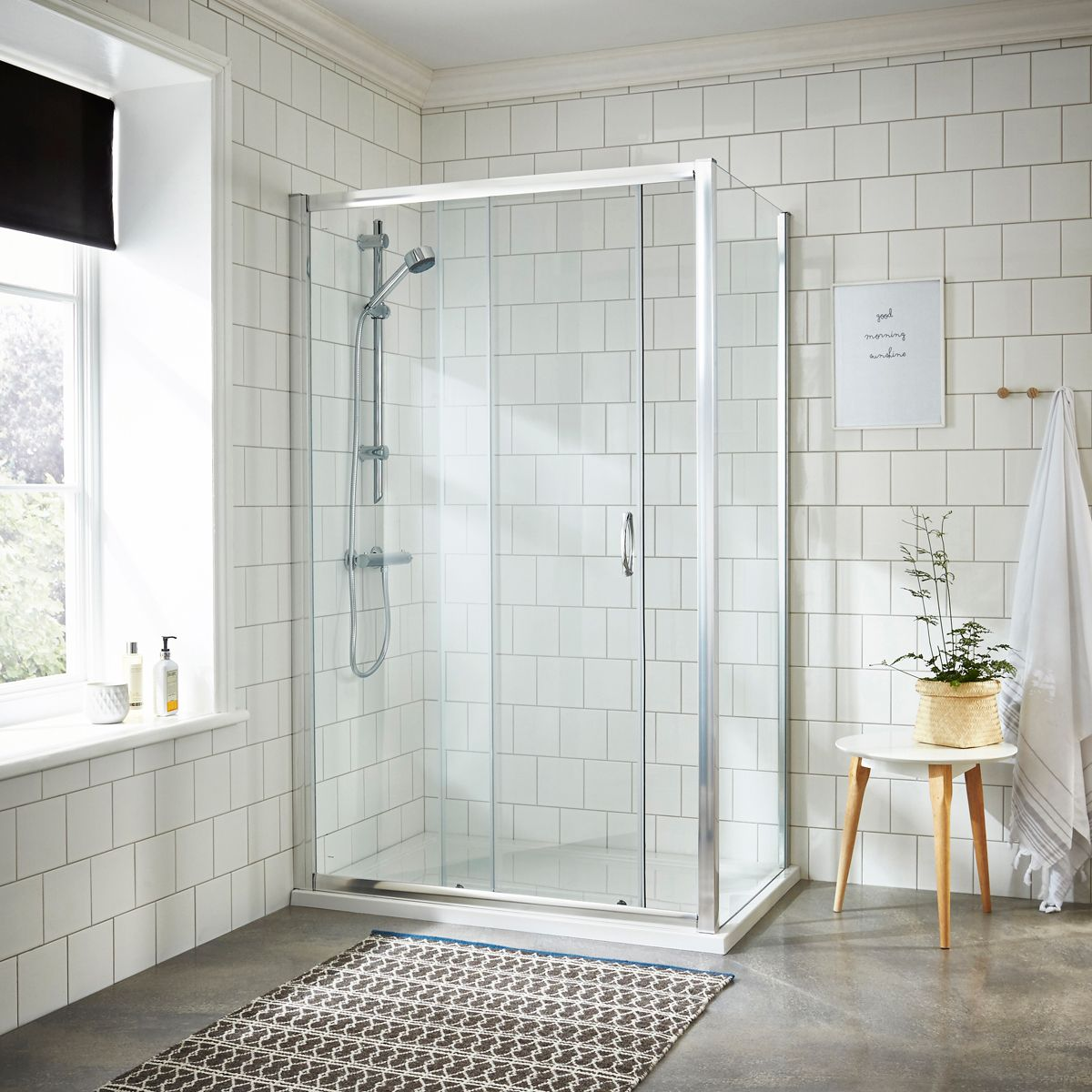 Nuie Ella Sliding Shower Door with Optional Side Panel