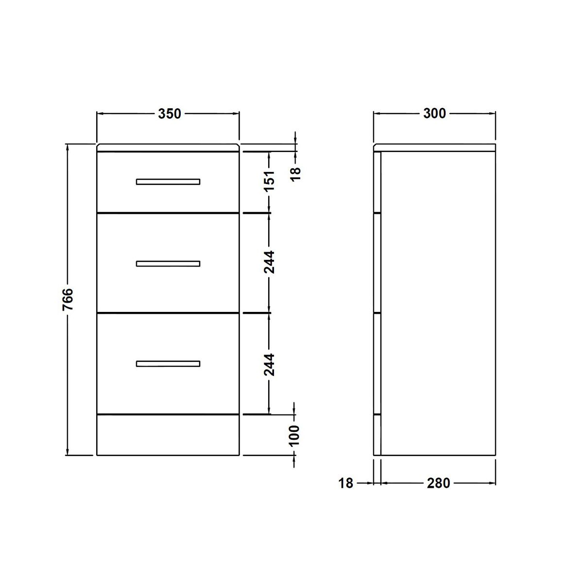 Premier High Gloss White 3 Drawer Storage Unit Dimensions