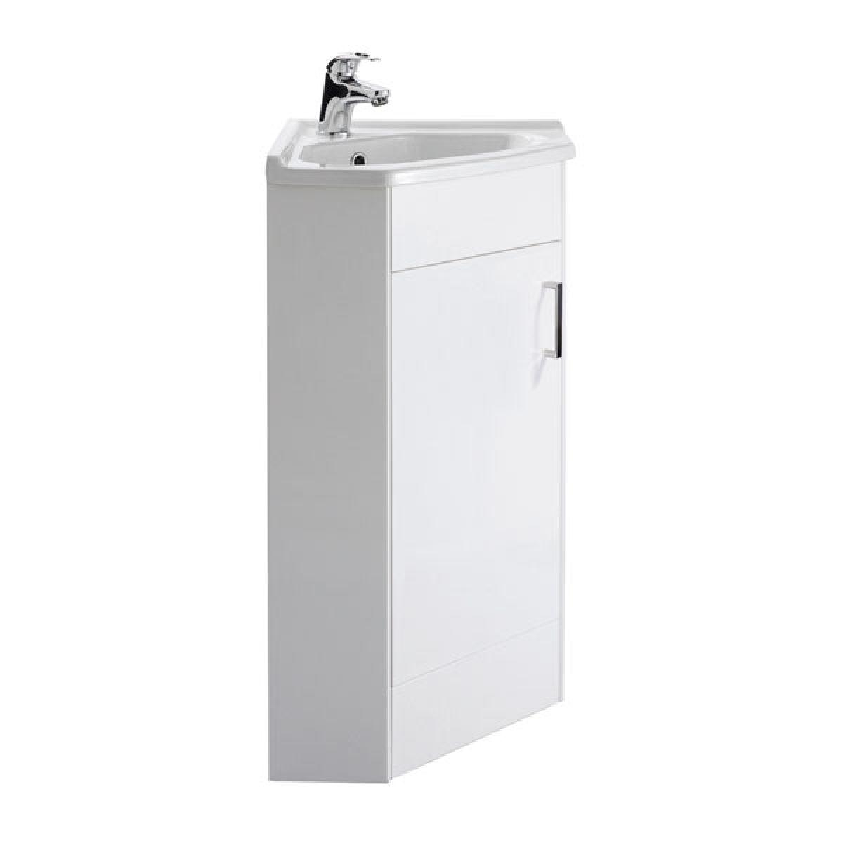 Premier High Gloss White Single Door Corner Vanity Unit