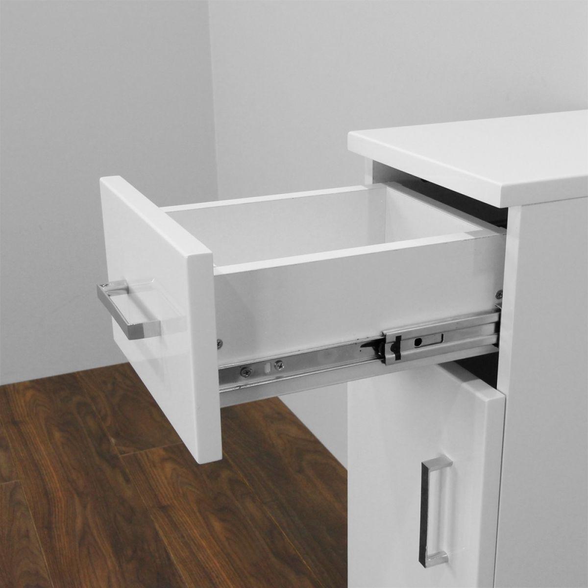 Premier High Gloss White Storage Cupboard - Drawer