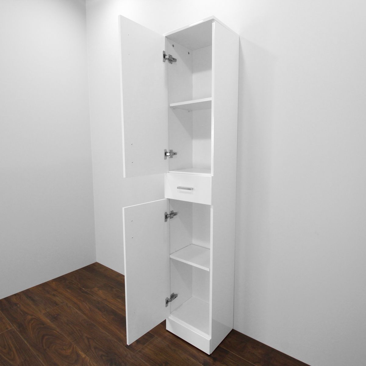 Premier High Gloss White Tall Boy Storage Unit Open