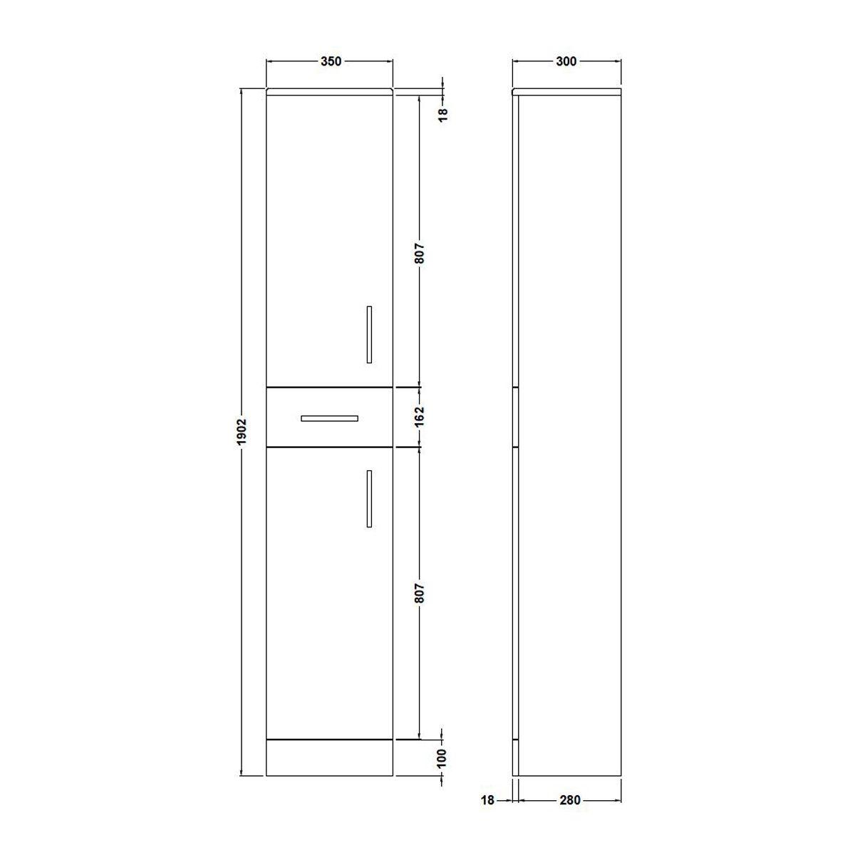 Premier High Gloss White Tall Boy Storage Unit Dimensions