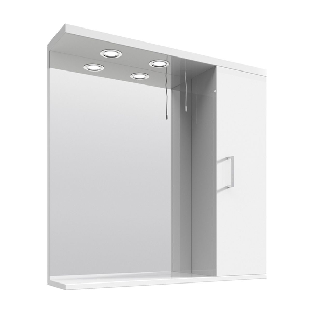Premier High Gloss White Bathroom Mirror Cabinet with Lights 750mm