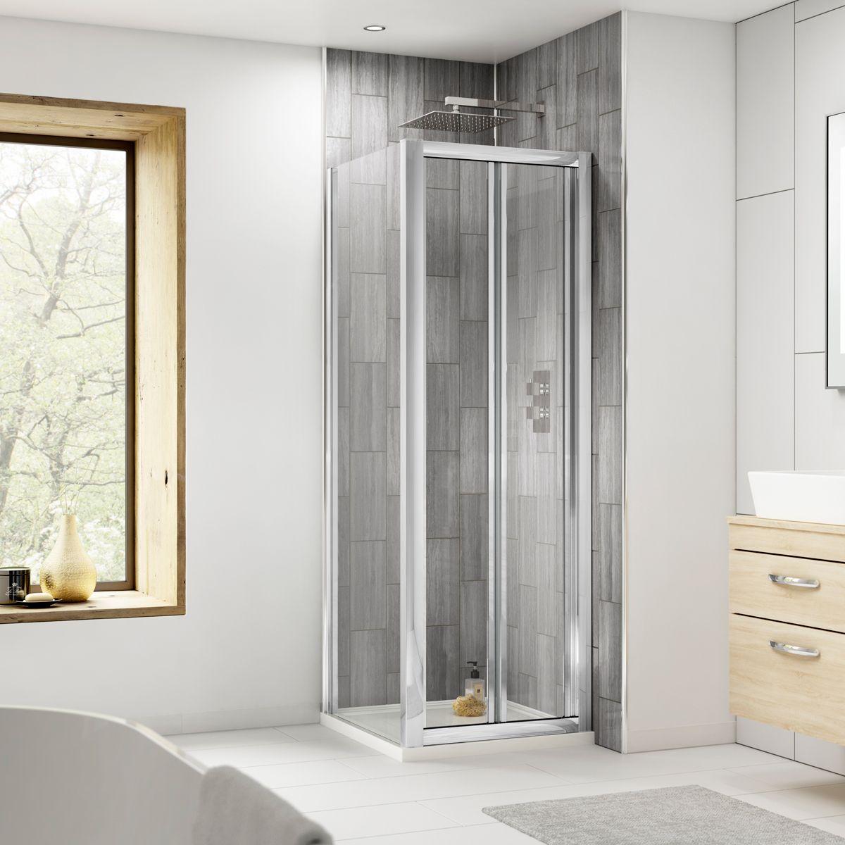 Nuie Pacific Bi-Fold Shower Door with Optional Side Panel