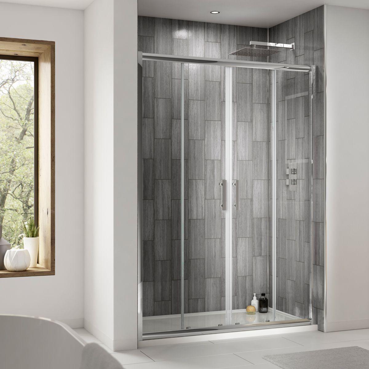 Premier Pacific Double Door Sliding Shower Enclosure Recess