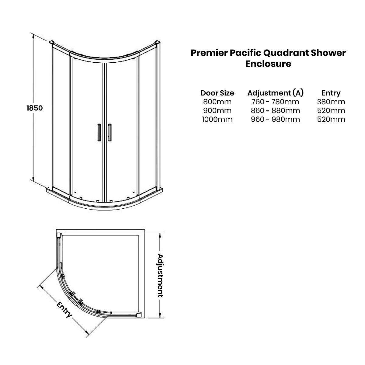 Premier Pacific Double Quadrant Shower Enclosure Dimensions
