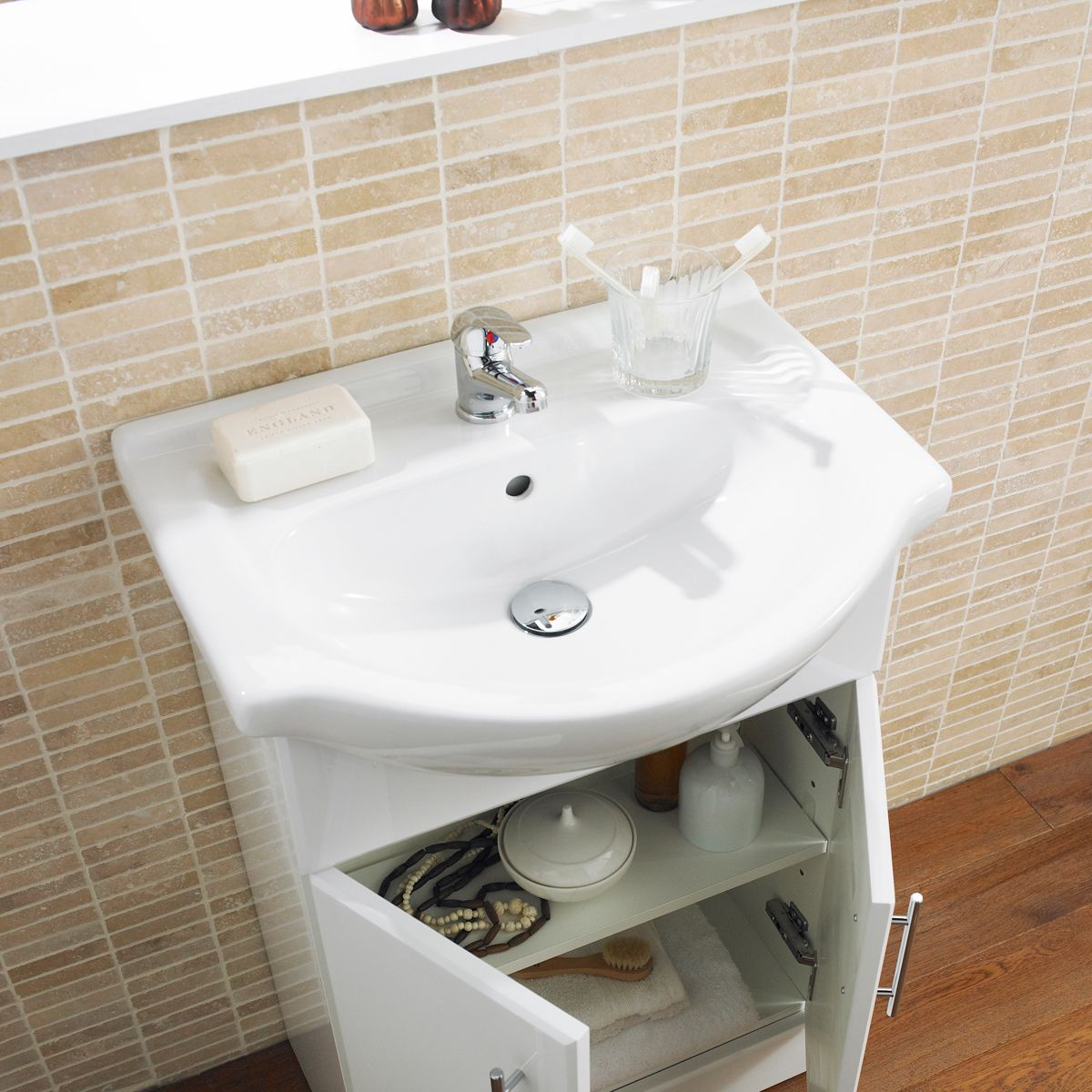Nuie High Gloss White Vanity Unit 550mm