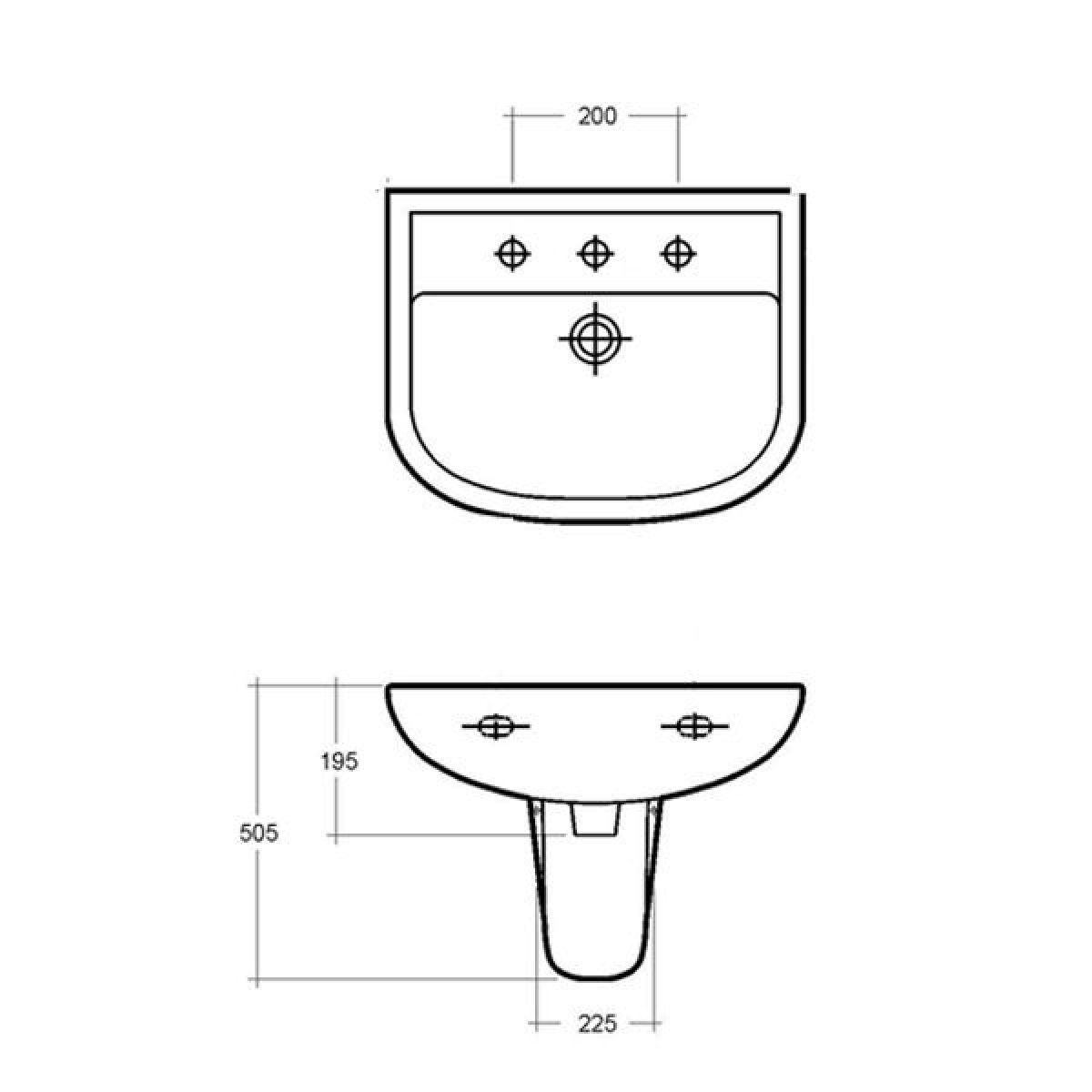 RAK Compact Basin with Semi Pedestal 460mm Dimensions